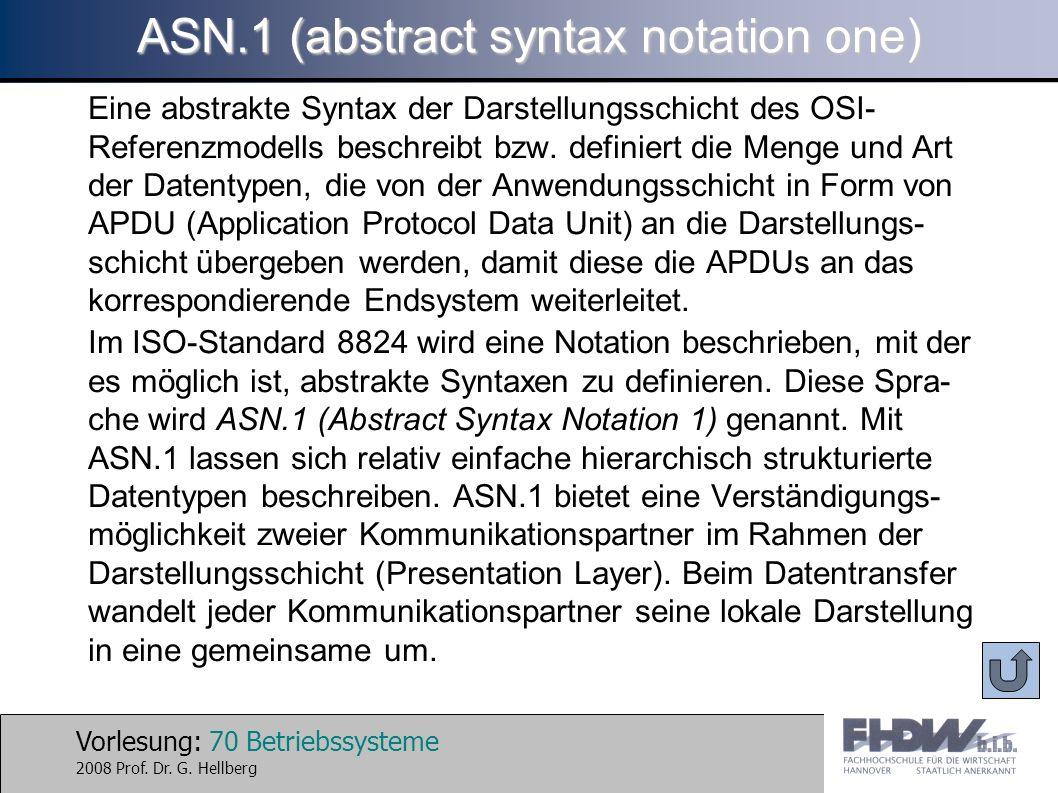 Vorlesung: 70 Betriebssysteme 2008 Prof. Dr. G. Hellberg ASN.1 (abstract syntax notation one) Eine abstrakte Syntax der Darstellungsschicht des OSI- R