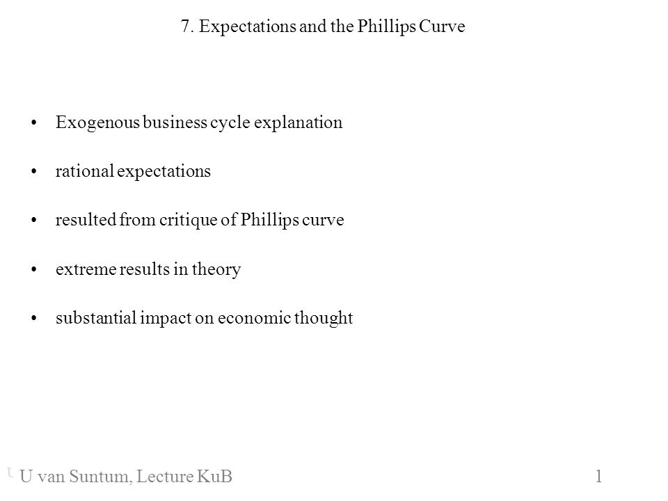 WS 2006/07 1 U. van SuntumKonjunktur und Beschäftigung 7. Expectations and the Phillips Curve Exogenous business cycle explanation rational expectatio