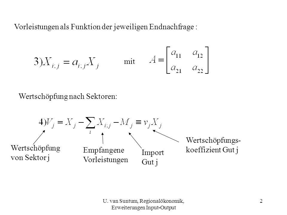3 m j = M j /X j = Importkoeffizient Gut 1 Aus 1) und 2) folgt: (Endogener) Konsum Übrige (exogene) Endnachfrage F ü Division durch X j ergibt: U.