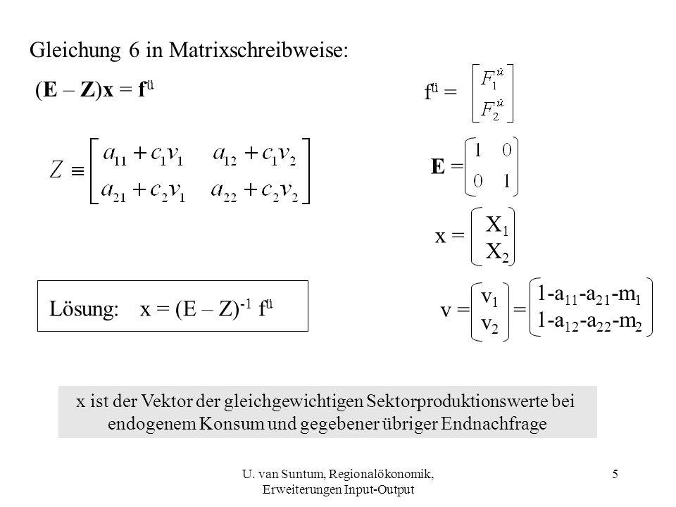 5 Gleichung 6 in Matrixschreibweise: (E – Z)x = f ü f ü = E = x = X1X2X1X2 Lösung: x = (E – Z) -1 f ü v = v 1 v 2 = 1-a 11 -a 21 -m 1 1-a 12 -a 22 -m