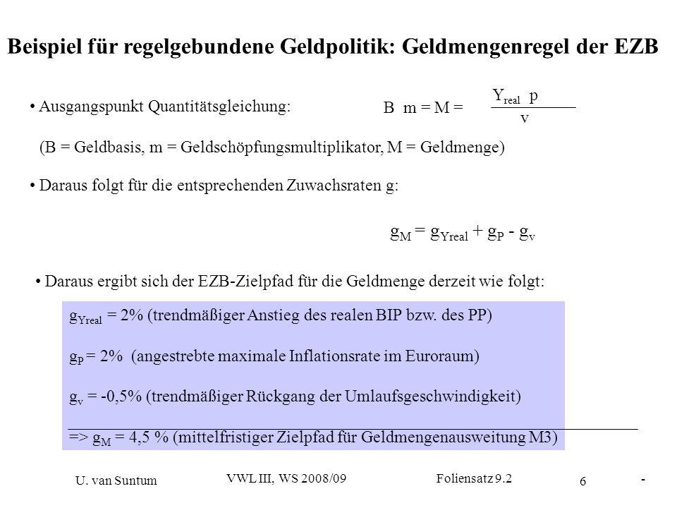 6 - U. van Suntum VWL III, WS 2008/09 Foliensatz 9.2 Beispiel für regelgebundene Geldpolitik: Geldmengenregel der EZB B m = M = Y real p v Ausgangspun