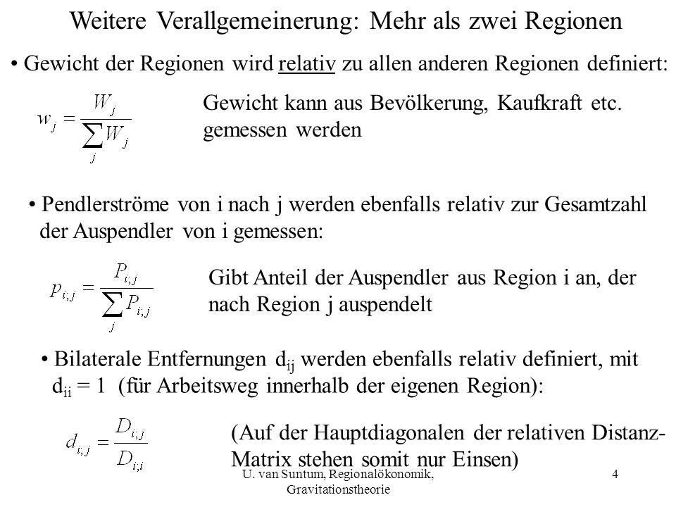4 Weitere Verallgemeinerung: Mehr als zwei Regionen Gewicht der Regionen wird relativ zu allen anderen Regionen definiert: Gewicht kann aus Bevölkerun