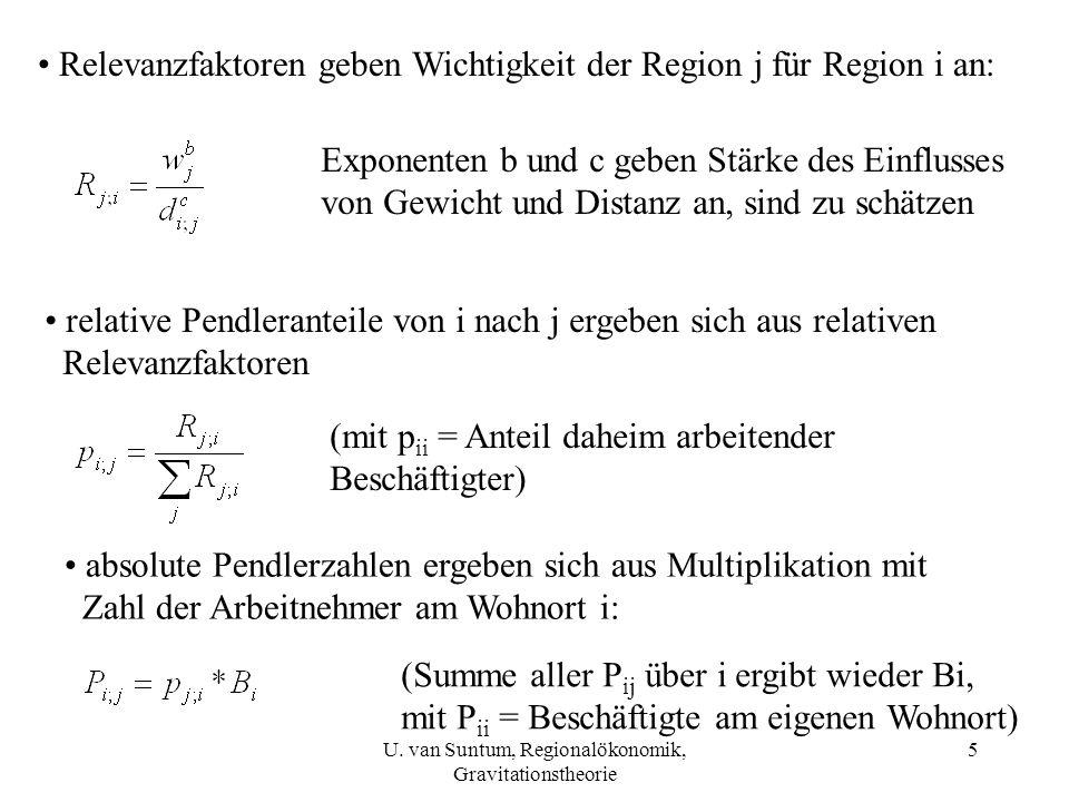 5 Relevanzfaktoren geben Wichtigkeit der Region j für Region i an: Exponenten b und c geben Stärke des Einflusses von Gewicht und Distanz an, sind zu