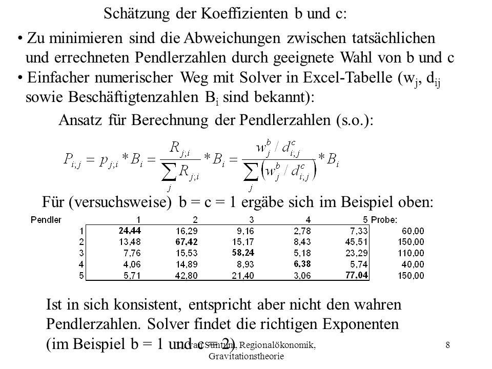 8 Schätzung der Koeffizienten b und c: Zu minimieren sind die Abweichungen zwischen tatsächlichen und errechneten Pendlerzahlen durch geeignete Wahl v