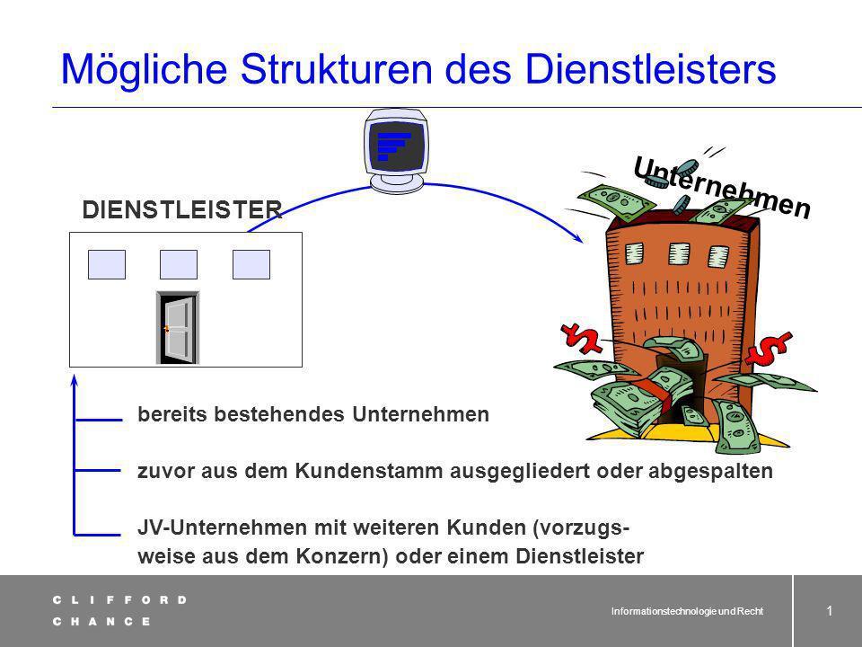 Vorlesung Informationstechno- logie und Recht Teil 3: Rechtliche Aspekte und Vertragsgestaltung beim IT-Outsourcing Dr. Joachim Schrey