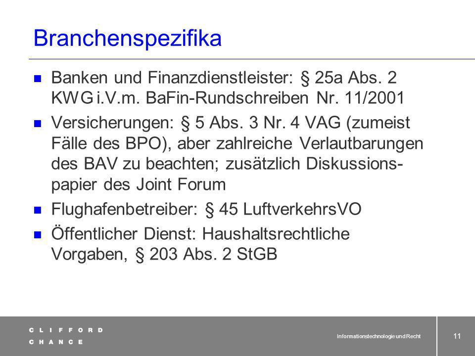 Informationstechnologie und Recht 10 Strafrecht – Stolperstein fürs Outsourcing.