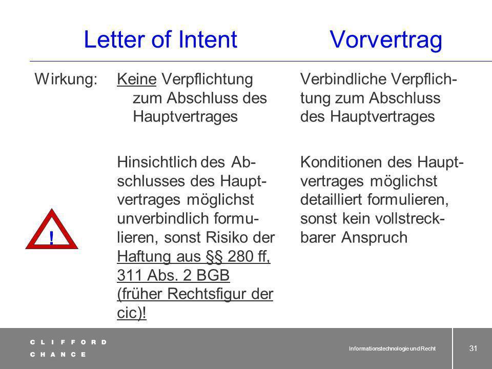 Informationstechnologie und Recht 30 Letter of IntentVorvertrag Beide Gestaltungsformen finden sich oftmals kombiniert mit einem Interimsvertrag zum S