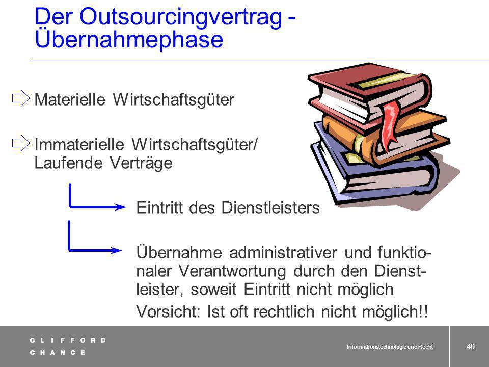 Informationstechnologie und Recht 39 Übernahme Anlage-/Umlaufvermögen Liste mit zu übertragenden Vermögensgegen- ständen, Verkauf und Übereignung der
