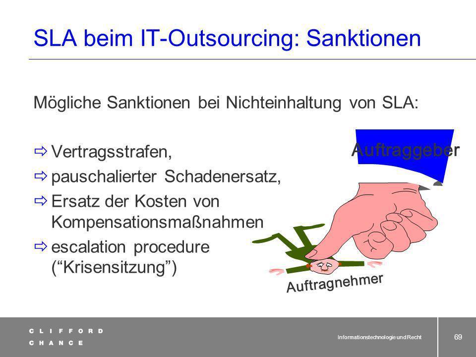 Informationstechnologie und Recht 68 Sanktionen AG AN SLA beim IT-Outsourcing
