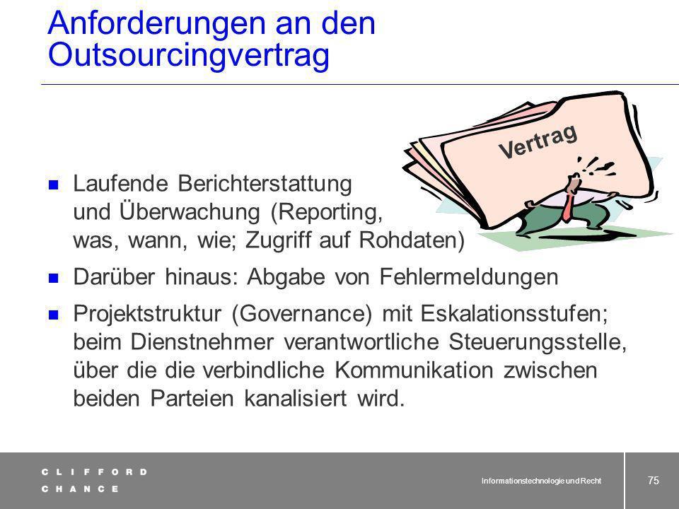 Informationstechnologie und Recht 74 SLA beim IT-Outsourcing: Berechnung von Sanktionen Überschreitung derMinderung des Monats- Antwortzeit in Sekunde