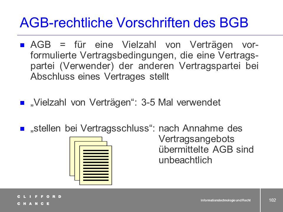 Informationstechnologie und Recht 100 Haustürwiderrufsgeschäfte Verbraucherkreditgeschäfte Allgemeine Geschäftsbedingungen Anwendung alter Vorschrifte