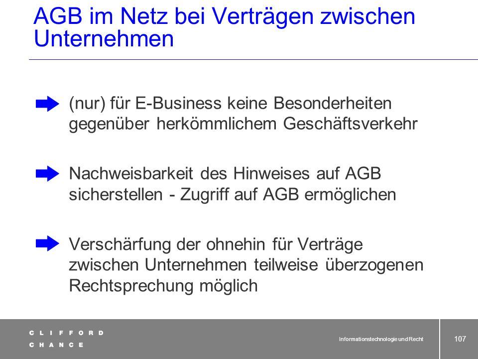 Informationstechnologie und Recht 105 AGB und Online-Verträge Problem Einbeziehung in Vertrag Hyperlink auf Website gut sichtbar vor Bestellformular S