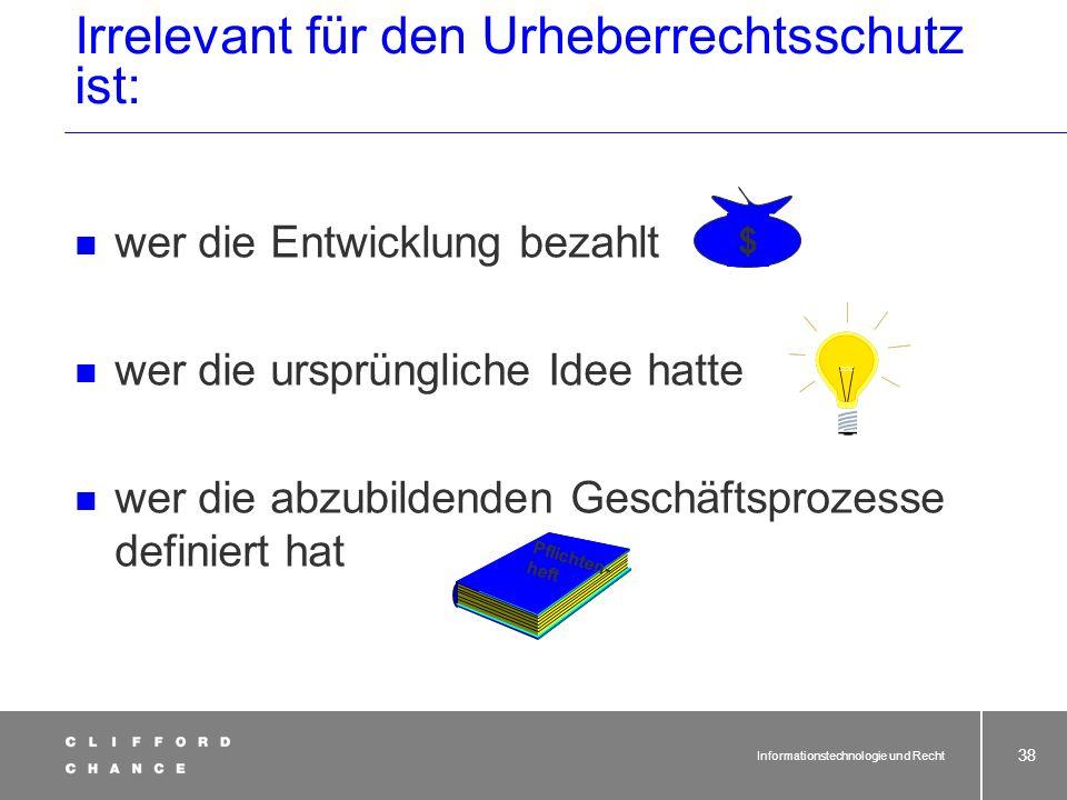 Informationstechnologie und Recht 36 2. 8. Abschnitt 2. UrhÄndG Urheberrecht und Software Einfügung des 8. Abschnitts des UrhG §§ 69a – 69g UrhG § 137