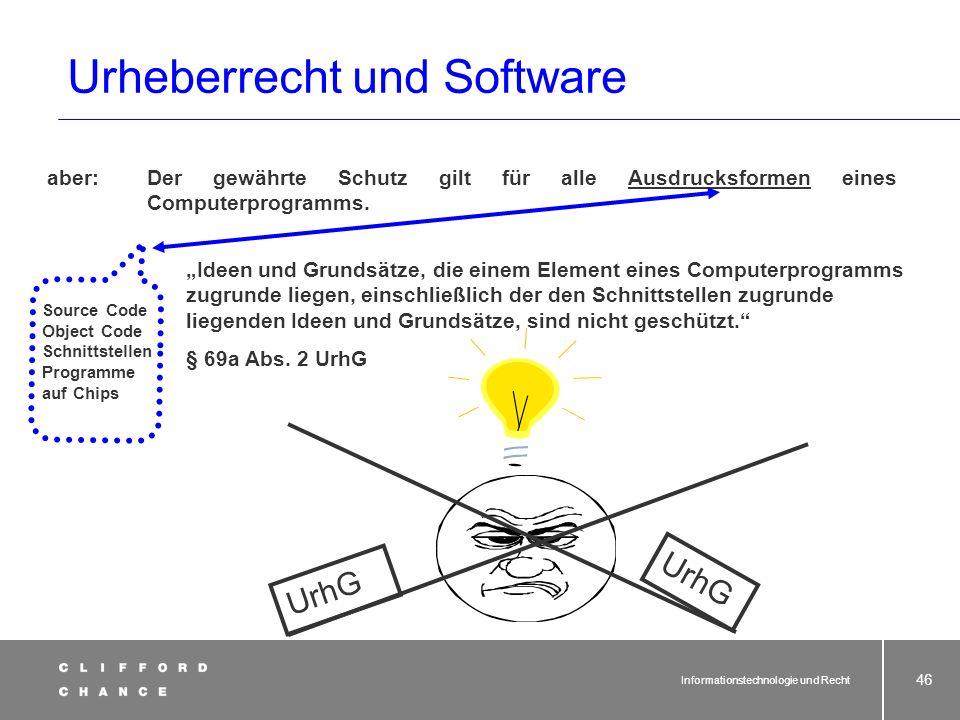 Informationstechnologie und Recht 44 Was besagt © by...? § 10 UrhG Vermutung der Urheberschaft (1) Wer auf den Vervielfältigungsstücken eines erschien