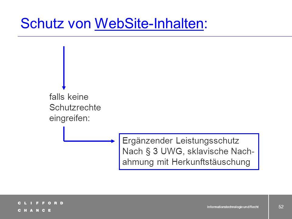 Informationstechnologie und Recht 50 Schutz von Datenbanken § 87a UrhG Begriffsbestimmungen. Datenbank im Sinne dieses Gesetzes ist eine Sammlung von