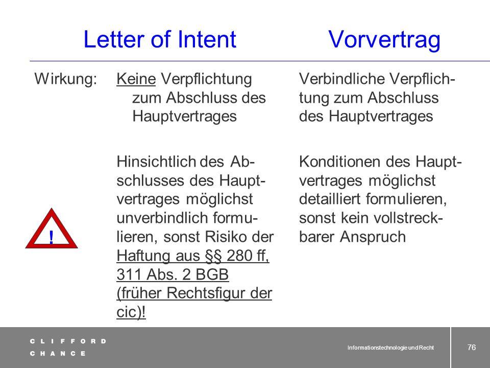 Informationstechnologie und Recht 74 Letter of IntentVorvertrag Festschreiben von erzielten Verhandlungs- ergebnissen mit gleich- zeitiger Absichtserk
