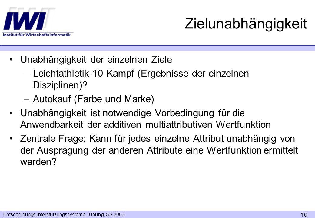Entscheidungsunterstützungssysteme - Übung, SS 2003 10 Zielunabhängigkeit Unabhängigkeit der einzelnen Ziele –Leichtathletik-10-Kampf (Ergebnisse der einzelnen Disziplinen).