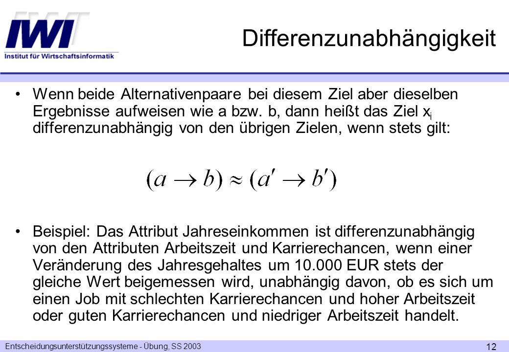 Entscheidungsunterstützungssysteme - Übung, SS 2003 12 Differenzunabhängigkeit Wenn beide Alternativenpaare bei diesem Ziel aber dieselben Ergebnisse aufweisen wie a bzw.