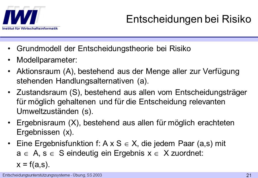 Entscheidungsunterstützungssysteme - Übung, SS 2003 21 Entscheidungen bei Risiko Grundmodell der Entscheidungstheorie bei Risiko Modellparameter: Aktionsraum (A), bestehend aus der Menge aller zur Verfügung stehenden Handlungsalternativen (a).