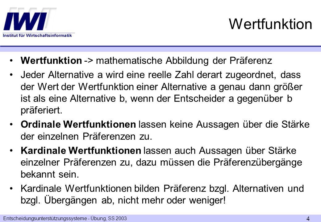 Entscheidungsunterstützungssysteme - Übung, SS 2003 4 Wertfunktion Wertfunktion -> mathematische Abbildung der Präferenz Jeder Alternative a wird eine reelle Zahl derart zugeordnet, dass der Wert der Wertfunktion einer Alternative a genau dann größer ist als eine Alternative b, wenn der Entscheider a gegenüber b präferiert.