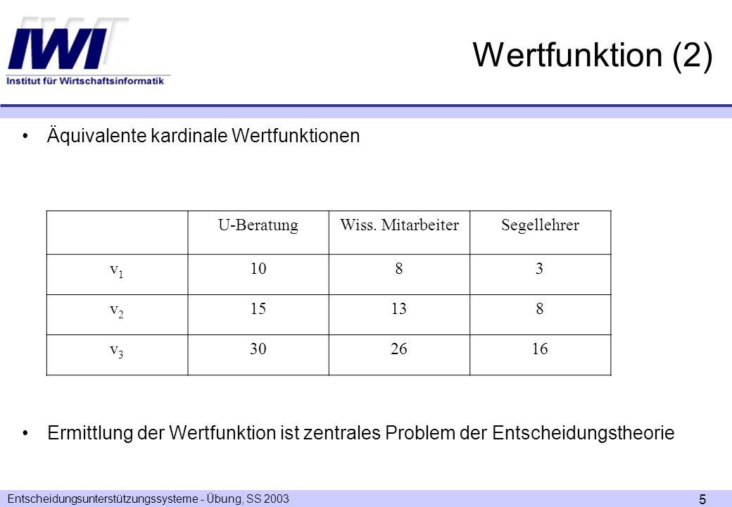 Entscheidungsunterstützungssysteme - Übung, SS 2003 6 Aufgabe 1 Aufgabe 1 - Ermittlung der Wertfunktion nach der Direct-Rating-Methode Ermitteln Sie die Wertfunktion für das folgende Entscheidungsproblem mit der Direct-Rating-Methode und stellen Sie die Wertfunktion graphisch dar.