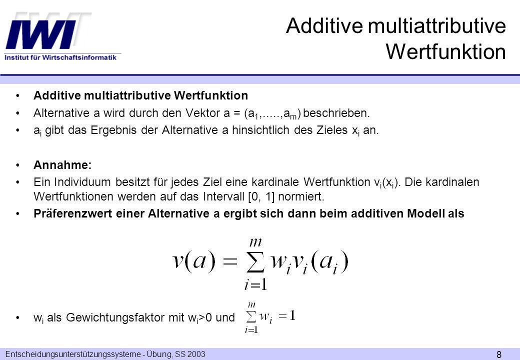 Entscheidungsunterstützungssysteme - Übung, SS 2003 8 Additive multiattributive Wertfunktion Alternative a wird durch den Vektor a = (a 1,.....,a m ) beschrieben.