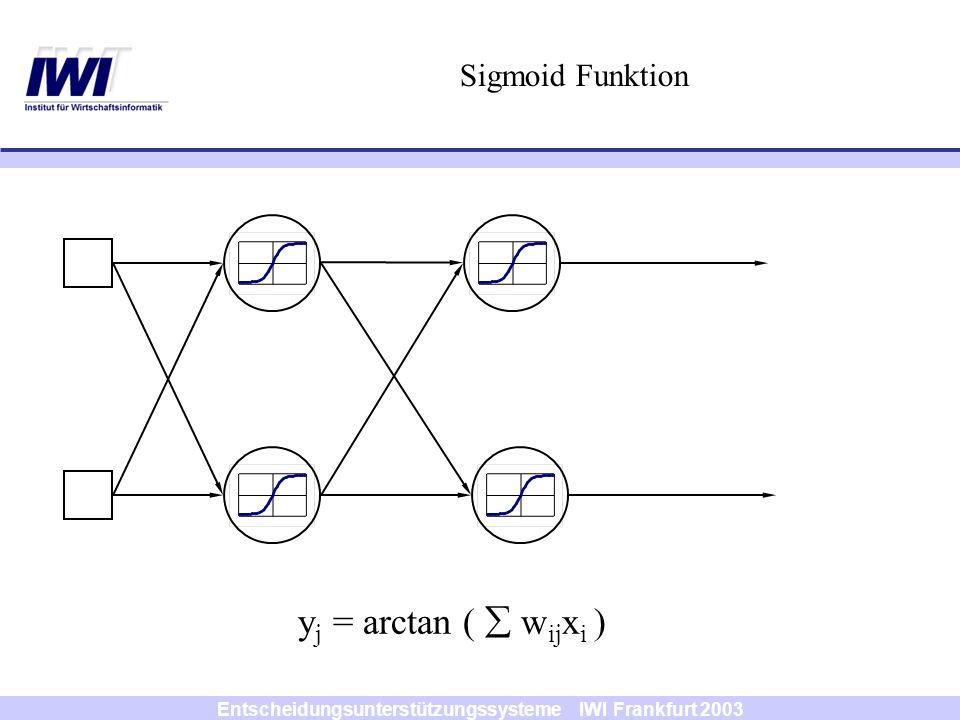 Entscheidungsunterstützungssysteme IWI Frankfurt 2003 Sigmoid Funktion y j = arctan ( w ij x i )