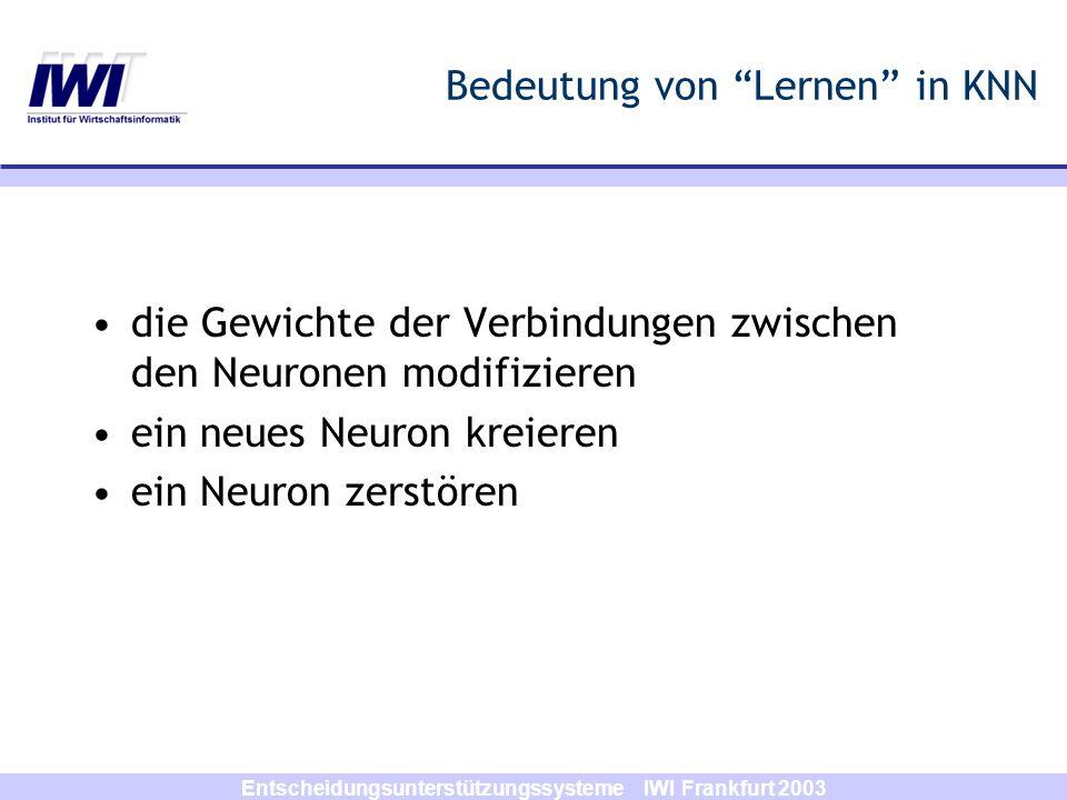 Entscheidungsunterstützungssysteme IWI Frankfurt 2003 Lernmethoden in KNN Supervised Learning (Überwachtes Lernen) –Das vom KNN gelieferte Output wird mit dem gewünschten Output verglichen; –das KNN wird anhand von diesem Unterschied trainiert.