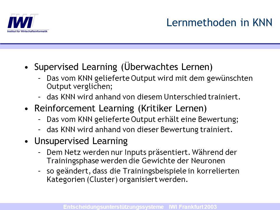 Entscheidungsunterstützungssysteme IWI Frankfurt 2003 Lernmethoden in KNN Supervised Learning (Überwachtes Lernen) –Das vom KNN gelieferte Output wird