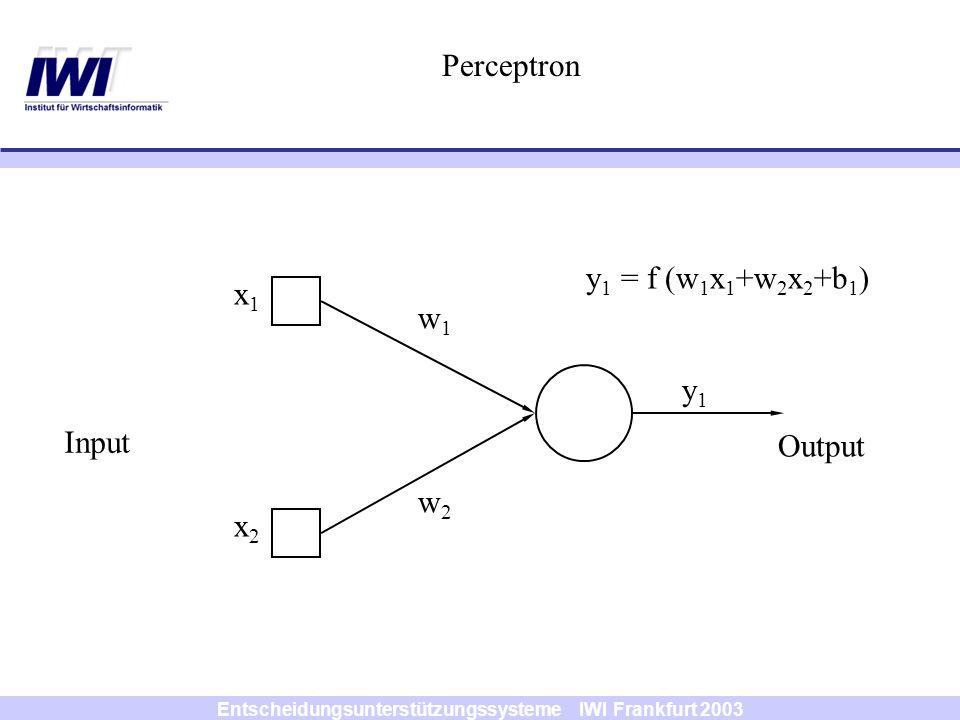Entscheidungsunterstützungssysteme IWI Frankfurt 2003 x1x1 x2x2 y 1 = f (w 1 x 1 +w 2 x 2 +b 1 ) y1y1 w1w1 w2w2 Perceptron Input Output