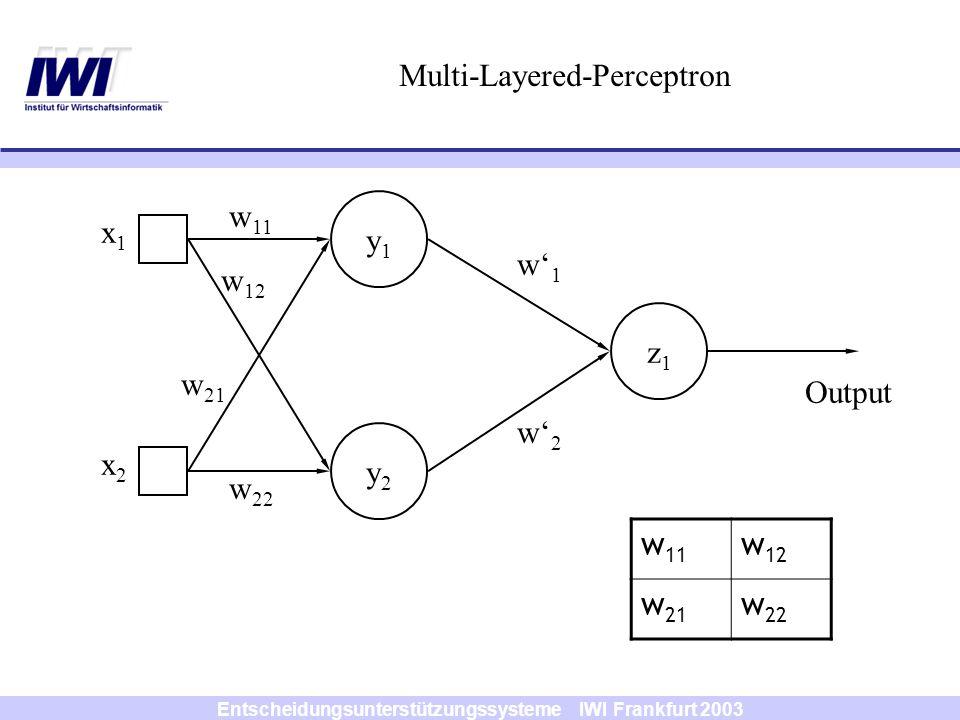 Entscheidungsunterstützungssysteme IWI Frankfurt 2003 y1y1 y2y2 z1z1 x1x1 x2x2 w1w1 w2w2 Multi-Layered-Perceptron w 11 w 12 w 21 w 22 Output w 11 w 12