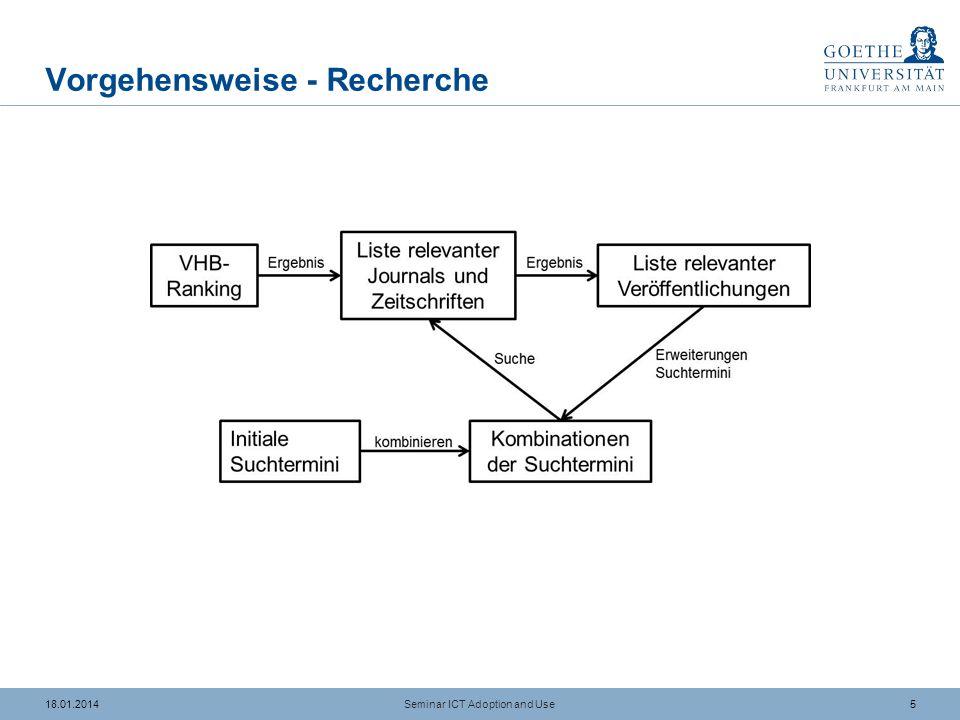 518.01.2014 Vorgehensweise - Recherche Seminar ICT Adoption and Use