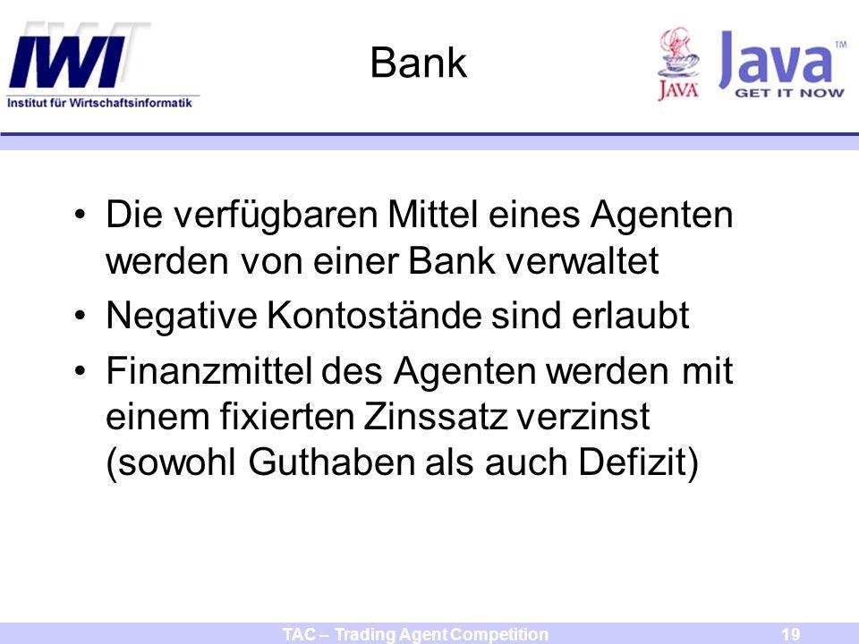 TAC – Trading Agent Competition19 Bank Die verfügbaren Mittel eines Agenten werden von einer Bank verwaltet Negative Kontostände sind erlaubt Finanzmittel des Agenten werden mit einem fixierten Zinssatz verzinst (sowohl Guthaben als auch Defizit)