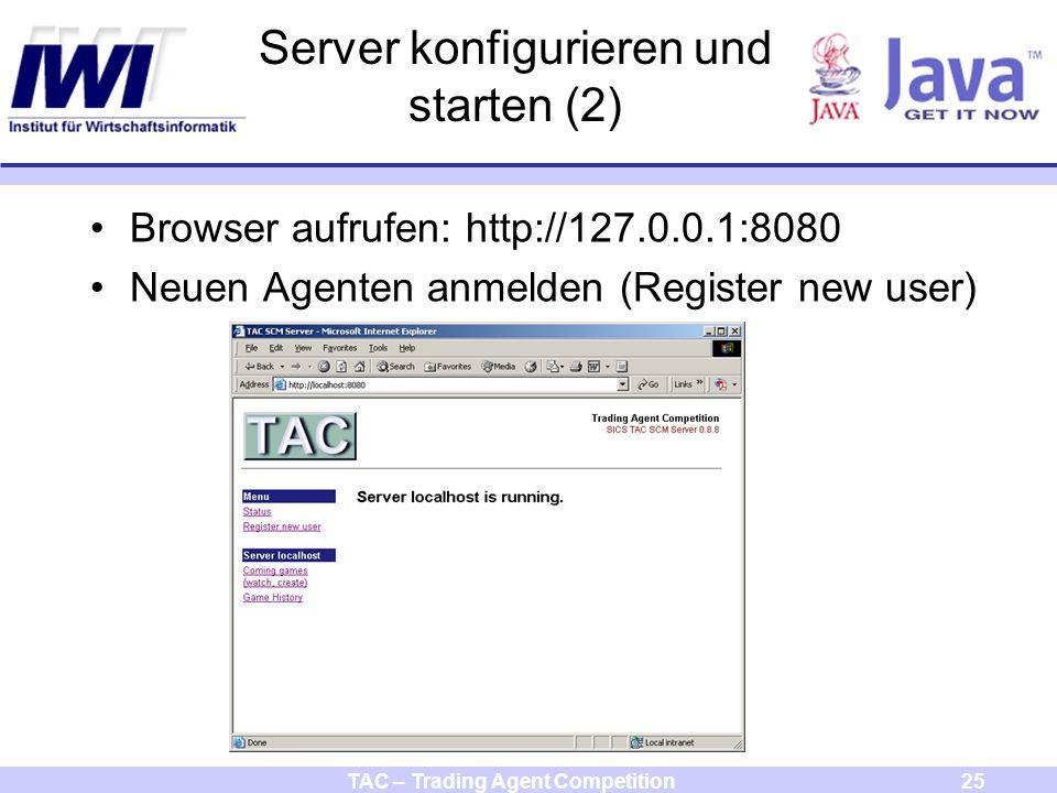 TAC – Trading Agent Competition25 Server konfigurieren und starten (2) Browser aufrufen: http://127.0.0.1:8080 Neuen Agenten anmelden (Register new user)