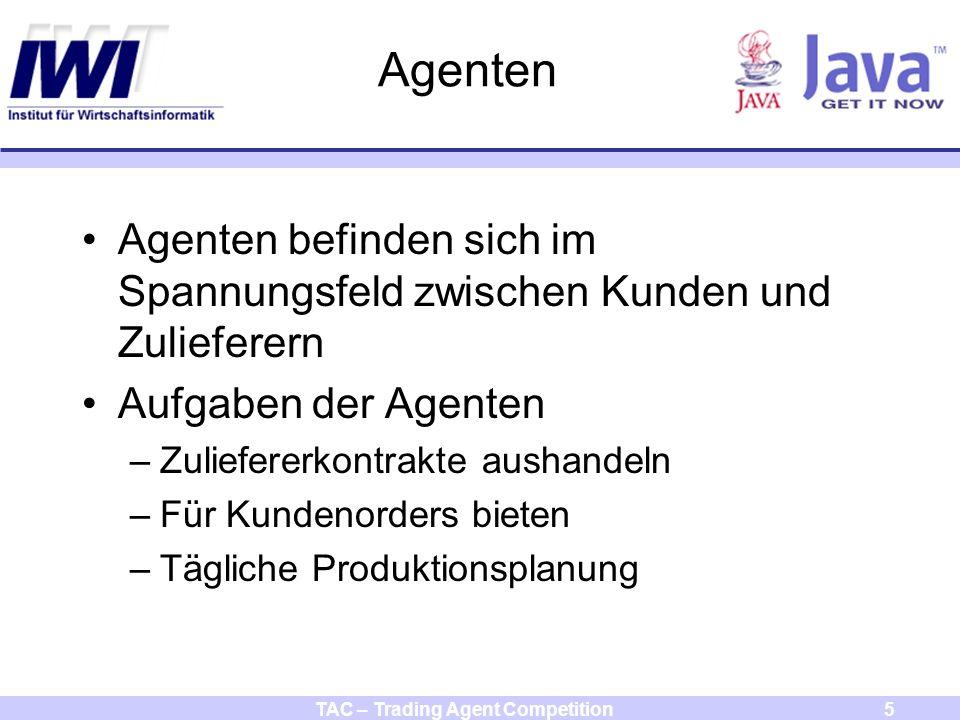 TAC – Trading Agent Competition26 Agent konfigurieren und starten Agent zunächst kompilieren durch Aufruf von compile.bat auf der Kommandozeile Agent konfigurieren in der Datei aw.conf –agentName => Name des Agenten –agentPassword => Passwort des Agenten –Werte identisch zur Serverkonfiguration wählen –serverHost => localhost Agent von der Kommandozeile starten mit java –jar scmaw.jar