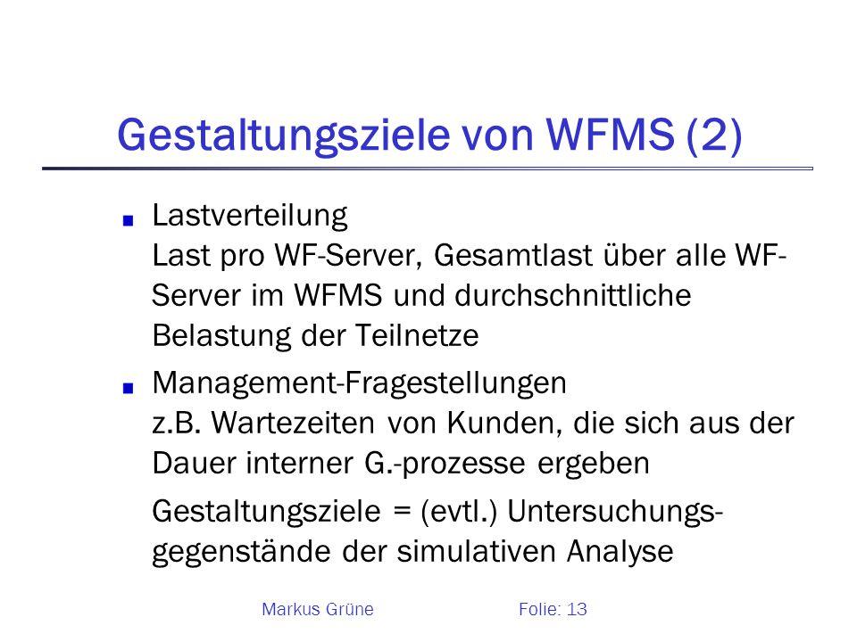 Markus GrüneFolie: 13 Gestaltungsziele von WFMS (2) Lastverteilung Last pro WF-Server, Gesamtlast über alle WF- Server im WFMS und durchschnittliche B