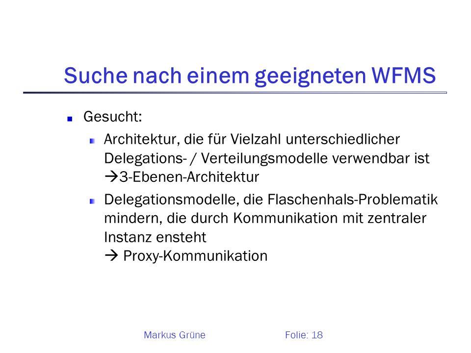 Markus GrüneFolie: 18 Suche nach einem geeigneten WFMS Gesucht: Architektur, die für Vielzahl unterschiedlicher Delegations- / Verteilungsmodelle verw