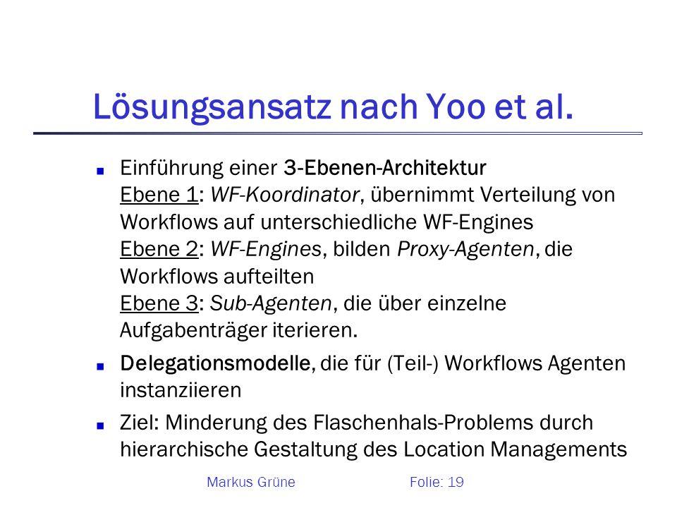 Markus GrüneFolie: 19 Lösungsansatz nach Yoo et al. Einführung einer 3-Ebenen-Architektur Ebene 1: WF-Koordinator, übernimmt Verteilung von Workflows
