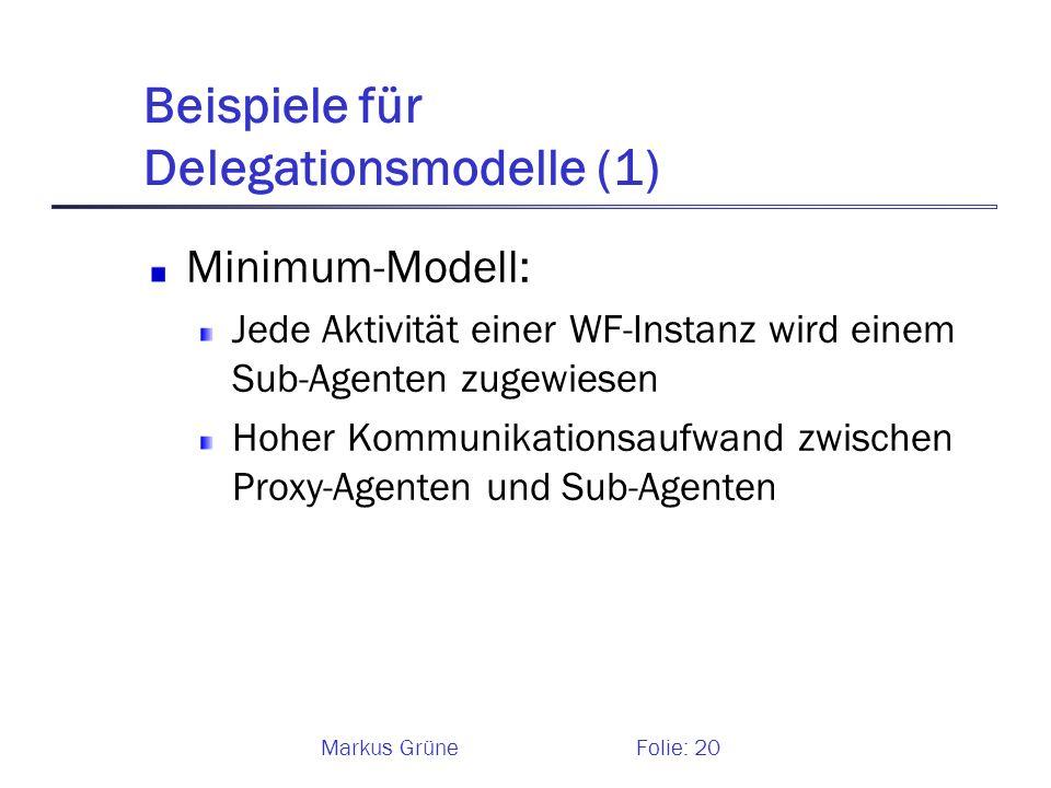 Markus GrüneFolie: 20 Beispiele für Delegationsmodelle (1) Minimum-Modell: Jede Aktivität einer WF-Instanz wird einem Sub-Agenten zugewiesen Hoher Kom