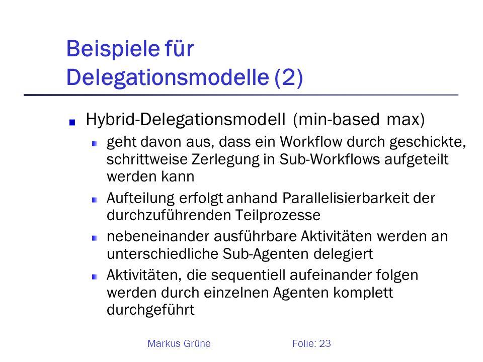 Markus GrüneFolie: 23 Beispiele für Delegationsmodelle (2) Hybrid-Delegationsmodell (min-based max) geht davon aus, dass ein Workflow durch geschickte