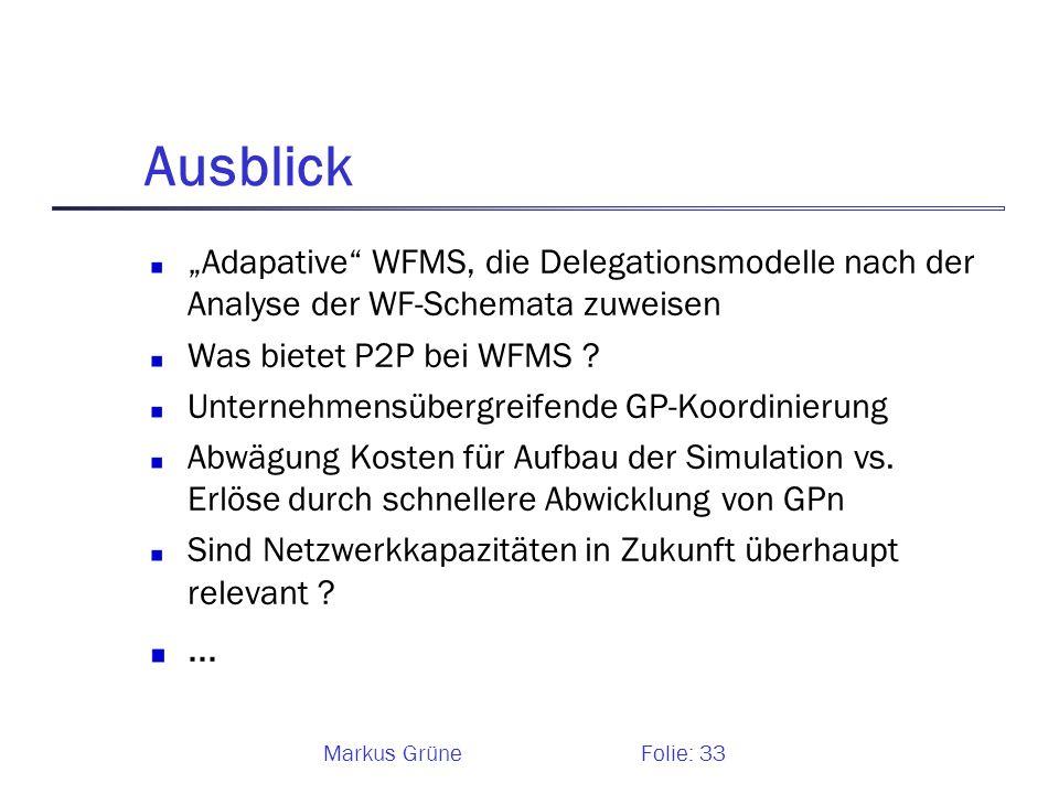 Markus GrüneFolie: 33 Ausblick Adapative WFMS, die Delegationsmodelle nach der Analyse der WF-Schemata zuweisen Was bietet P2P bei WFMS ? Unternehmens