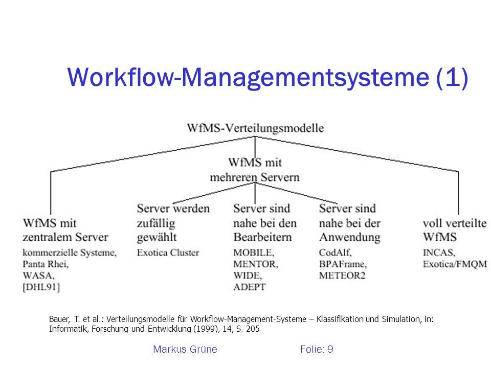 Markus GrüneFolie: 9 Workflow-Managementsysteme (1) Bauer, T. et al.: Verteilungsmodelle für Workflow-Management-Systeme – Klassifikation und Simulati