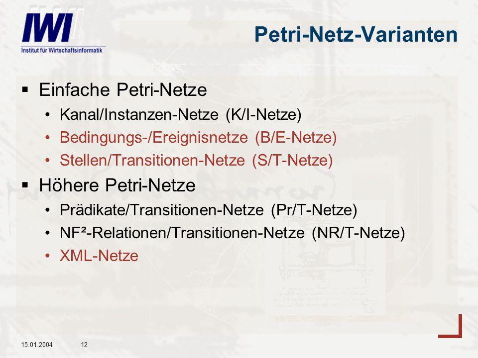15.01.200412 Petri-Netz-Varianten Einfache Petri-Netze Kanal/Instanzen-Netze (K/I-Netze) Bedingungs-/Ereignisnetze (B/E-Netze) Stellen/Transitionen-Netze (S/T-Netze) Höhere Petri-Netze Prädikate/Transitionen-Netze (Pr/T-Netze) NF²-Relationen/Transitionen-Netze (NR/T-Netze) XML-Netze