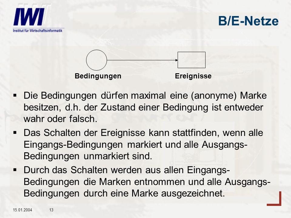 15.01.200413 B/E-Netze Die Bedingungen dürfen maximal eine (anonyme) Marke besitzen, d.h.