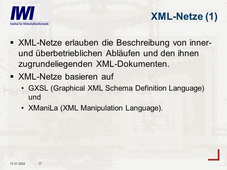 15.01.200417 XML-Netze (1) XML-Netze erlauben die Beschreibung von inner- und überbetrieblichen Abläufen und den ihnen zugrundeliegenden XML-Dokumenten.