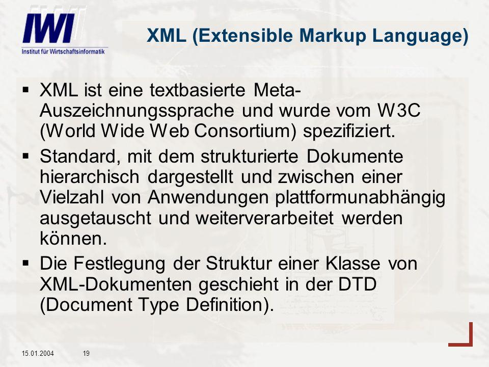15.01.200419 XML (Extensible Markup Language) XML ist eine textbasierte Meta- Auszeichnungssprache und wurde vom W3C (World Wide Web Consortium) spezifiziert.