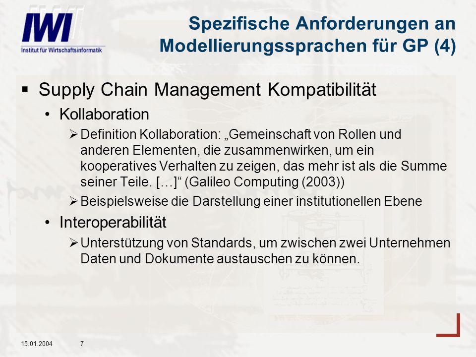 15.01.20047 Spezifische Anforderungen an Modellierungssprachen für GP (4) Supply Chain Management Kompatibilität Kollaboration Definition Kollaboration: Gemeinschaft von Rollen und anderen Elementen, die zusammenwirken, um ein kooperatives Verhalten zu zeigen, das mehr ist als die Summe seiner Teile.