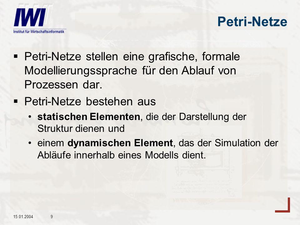 15.01.20049 Petri-Netze Petri-Netze stellen eine grafische, formale Modellierungssprache für den Ablauf von Prozessen dar.