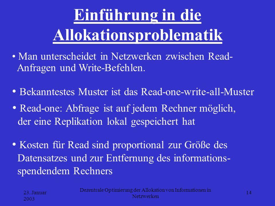 23. Januar 2003 Dezentrale Optimierung der Allokation von Informationen in Netzwerken 14 Einführung in die Allokationsproblematik Man unterscheidet in