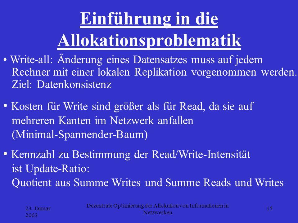 23. Januar 2003 Dezentrale Optimierung der Allokation von Informationen in Netzwerken 15 Einführung in die Allokationsproblematik Write-all: Änderung